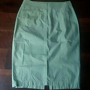 Olive 100% Cotton Pencil Skirt NWOT